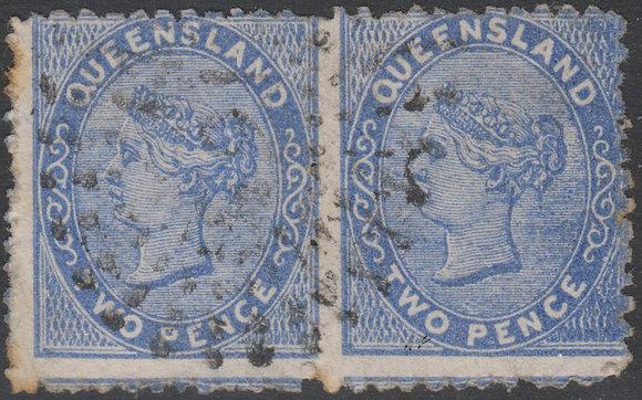 QUEENSLAND SG 130 1879-81 2d Blue, Used. Horizontal Pair.