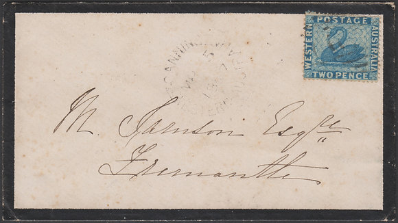 WESTERN AUSTRALIA SG 41 1867 Mourning Cover Canning to Fremantle