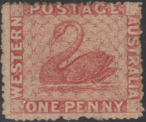 WESTERN AUSTRALIA SG 033 1861 1d Rose, Unused no Gum.