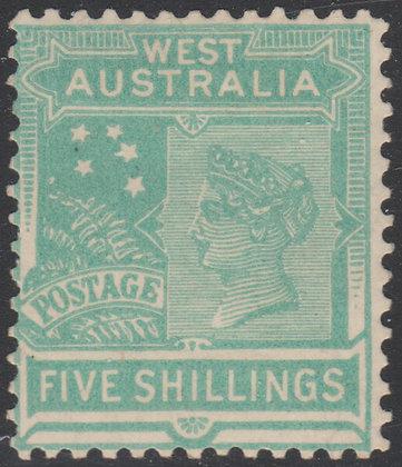 WESTERN AUSTRALIA SG 148 1905-12 5/- Pale Emerald-Green, Fine Mint Lightly Hinge