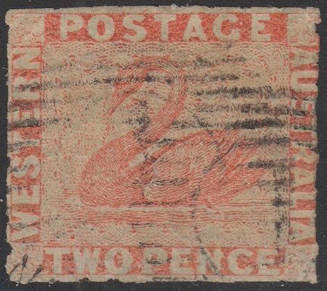 WESTERN AUSTRALIA SG 030 1860-64 2d Orange-vermilion