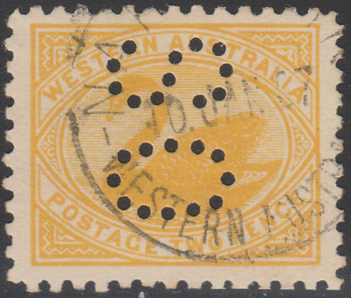 WESTERN AUSTRALIA SG 152 OS 1905-12 2d Yellow, Fine Used, Punctured OS.