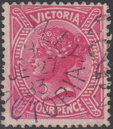 VICTORIA SG 213 4d Rose-red Inverted Wmk