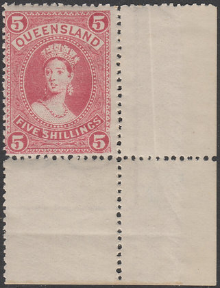 QUEENSLAND SG 273 1905-06 5/- Rose, Mint Lightly Hinged.