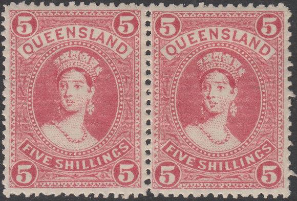 QUEENSLAND SG 273 1905-06 5/- Rose, Horizontal Pair. Mint Lightly Hinged.