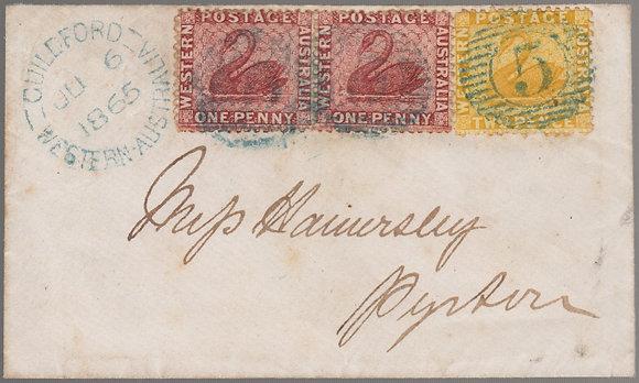 WESTERN AUSTRALIA 1865 ( JU 6 ) Envelope.