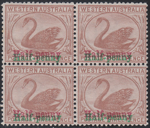 WESTERN AUSTRALIA SG 111a 1895 Half-penny on 3d Cinnamon. Double Surcharge In Re