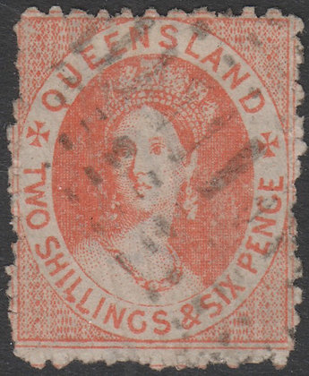 QUEENSLAND SG 121 1880 2/6d Dull Scarlet, Used Fiscally?