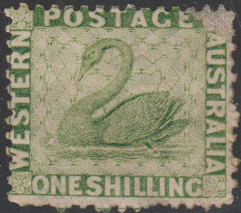 WESTERN AUSTRALIA SG 062 1864-79 1/- Sage-green, Unused no Gum.