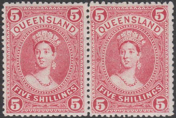 QUEENSLAND SG 310 1907-11 5/- Rose, Horizontal Pair. Mint Lightly Hinged.