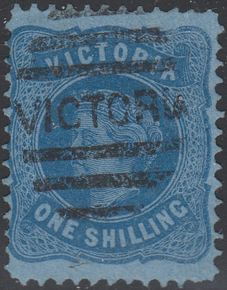 VICTORIA SG 180b 1/- Deep Blue on Blue Paper.