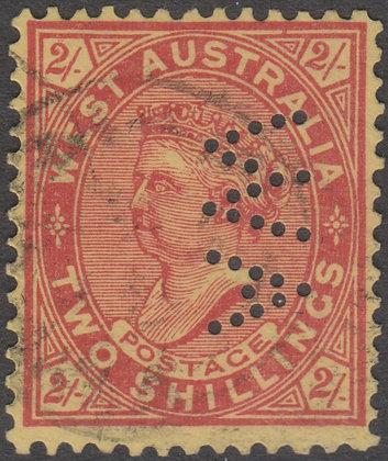 WESTERN AUSTRALIA SG 124a WA  2/- Brownish Red on Yellow, Used Punctured WA.