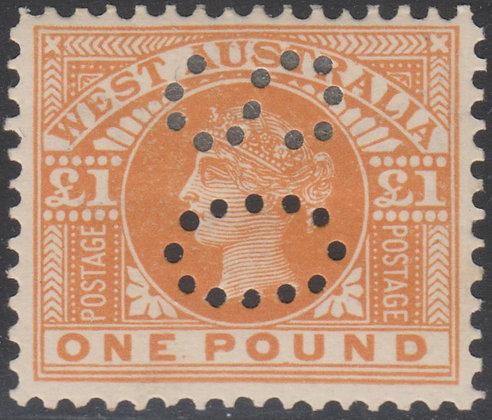 WESTERN AUSTRALIA SG 128a OS 1902-11 £1 Orange, Fine Mint Hinged, Punctured OS.