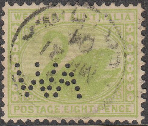 WESTERN AUSTRALIA SG 121 WA 1902-11 8d Green, Fine Used Punctured WA.