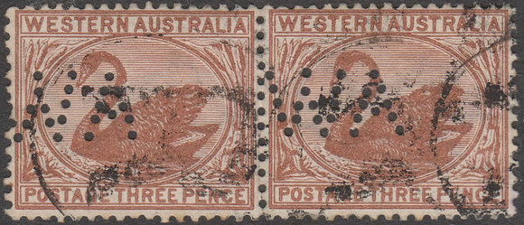 WESTERN AUSTRALIA SG 087 WA 1882-95 3d Red-brown, Used Punctured WA Pair.