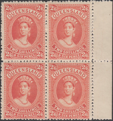 QUEENSLAND SG 158 2/6D Vermilion, Thick Paper, Mint Very Lightly Hinged