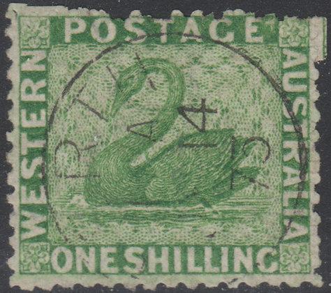 WESTERN AUSTRALIA SG 061 1864-79 1/- Bright Green. Used, Perth 1873 Datestamp.