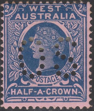 WESTERN AUSTRALIA SG 125 OS 1902-11 2/6d Deep Blue on Pink, Fine Mint Hinged.