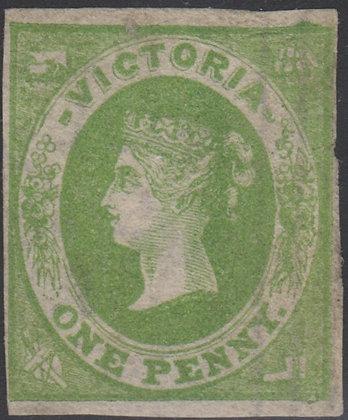 VICTORIA SG 041 1857 1d Yellow Green, Unused No Gum.