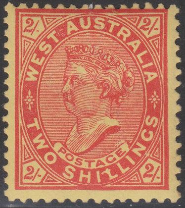WESTERN AUSTRALIA SG 124 Vermilion 1902-11 2/- Vermilion, Mint Hinged.