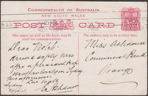 NEW SOUTH WALES 1d FLEET CARD 1908
