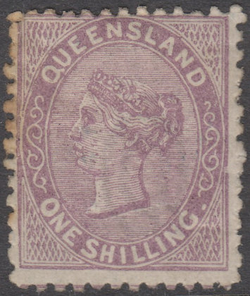 QUEENSLAND SG 145 1879-81 1/- Pale Lilac, Mint Hinged