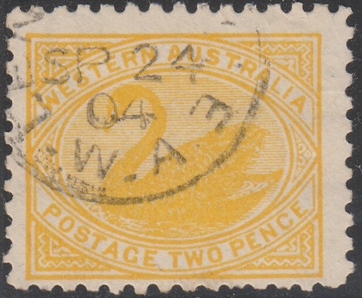 WESTERN AUSTRALIA SG 130a 1902-11 2d Dull Yellow, Perf 11, Fine Lightly Used.