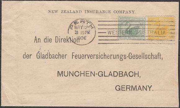 WESTERN AUSTRALIA 1906 PERTH TO GERMANY