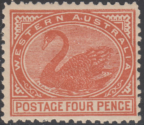 WESTERN AUSTRALIA SG 142b 4d Bright Brown-red