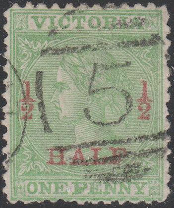 VICTORIA SG 175a ½d on 1d Grass Green