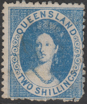 QUEENSLAND SG 118 1880 2/- Pale Blue, Fiscally Used, Cleaned.
