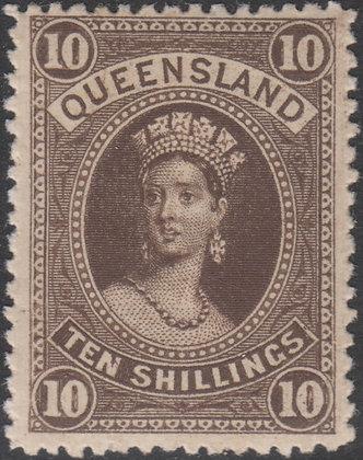 QUEENSLAND SG 160 10/- Brown Fine Mint Hinged.