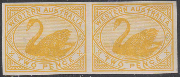 WESTERN AUSTRALIA SG 113 1898-1907 2d Bright Yellow. Plate Proof Imperf Pair.