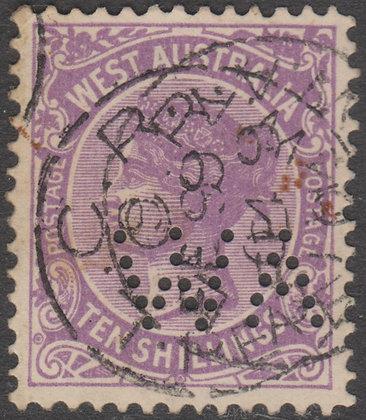 WESTERN AUSTRALIA SG 127 WA 1902-11 10/- Deep Mauve, Used, Punctured WA.