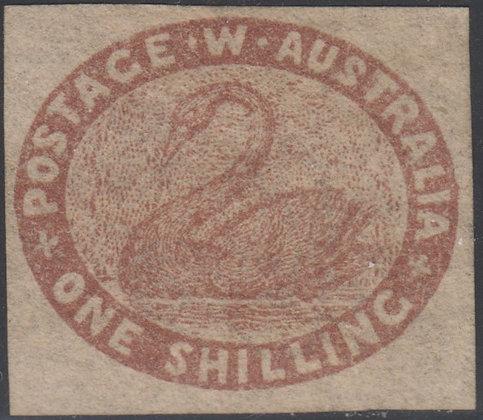 WESTERN AUSTRALIA SG 004a 1/- DEEP REDBROWN UNUSED