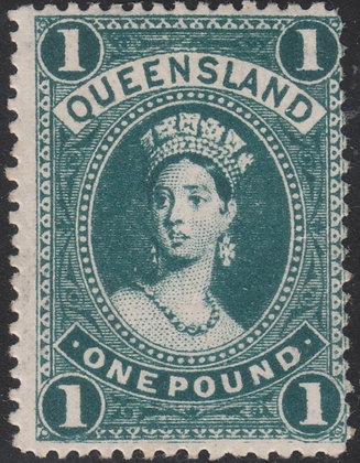 QUEENSLAND SG 312ca 1907-11 £1 Deep Bluish Green. Mint Lightly Hinged.