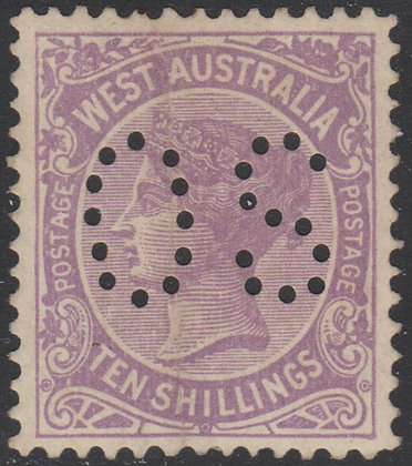 WESTERN AUSTRALIA SG 127 OS 1902-11 10/- Deep Mauve, Mint Hinged, Ironed out Ver