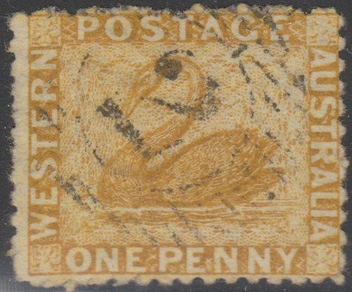 WESTERN AUSTRALIA SG 053 1864-79 1d Yellow-ochre, Used 15 bar 2 Perth.