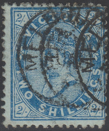 VICTORIA SG 190b 1/- Ultramarine on Green Paper.