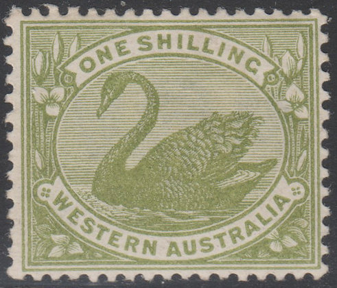 WESTERN AUSTRALIA SG 116w Inverted W Crown A 1/- Olive-green, Fine Mint.