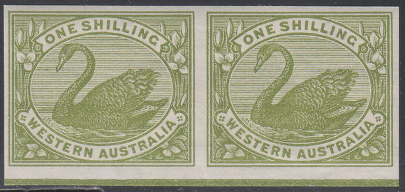 WESTERN AUSTRALIA SG 116 1898-1907 1/- Olive-green, Plate Proof Pair.