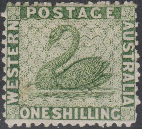 WESTERN AUSTRALIA SG 062 1864-79 1/- Sage-green, Mint Hinged.