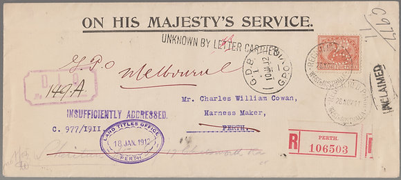 WESTERN AUSTRALIA 1911 (28 NOV) OHMS ENVELOPE
