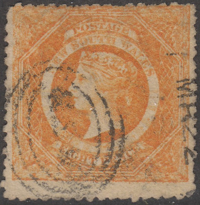 NEW SOUTH WALES SG 167a 1860-72 8d Red-orange, Used.