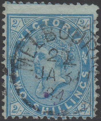 VICTORIA SG 190ab 2/- Light Blue on Green Paper. Sideways Watermark.
