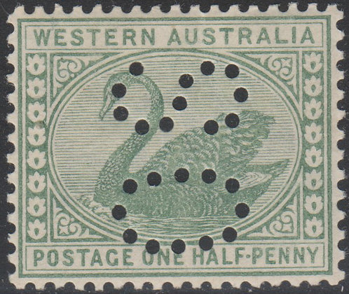 WESTERN AUSTRALIA SG 094a OS 1885-93 ½d Green, Fine Mint Punctured OS