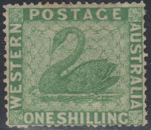 WESTERN AUSTRALIA SG 043a 1861 1/- Yellow-green, Unused No Gum