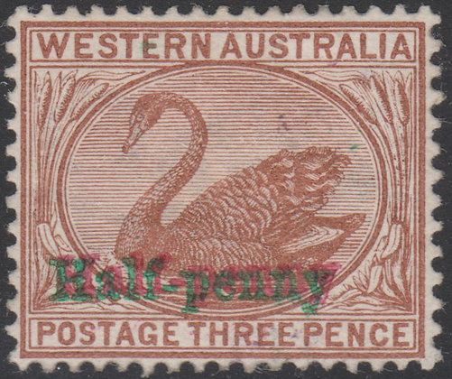WESTERN AUSTRALIA SG 111b 1895 Half-penny on 3d Red-brown in Red and Green.