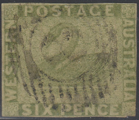 WESTERN AUSTRALIA SG 028 1860-64 6d Sage-green