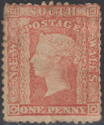 NEW SOUTH WALES SG 154 1860-72 1d Scarlet. Unused No Gum. Some Staining.